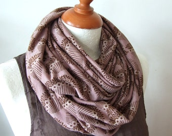 Floral jersey infinity scarf,  jersey circle scarf, chunky jersey loop scarf, hipster mauve wine scarf, Mother's Day gift
