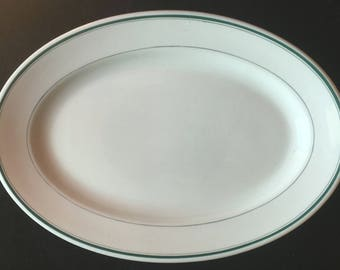 """Jackson Diner Hotel Restaurant China 15"""" x 10-1/4"""" """"Saratoga"""" Green-Banded Platter in Excellent Condition"""