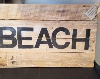 Salvage Wood BEACH sign - very aged