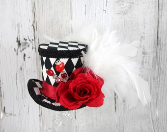 Queen of Hearts - Black, White, and Red Harlequin Rose Medium Mini Top Hat Fascinator, Alice in Wonderland, Mad Hatter Tea Party, Derby Hat