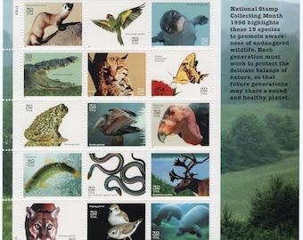 Endangered Species (15)Mint-Unused- Scott #3105 Full Sheet