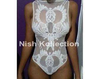 SALE/ Custom full Embroidery lace sheer Nish sea pearl Vintage swimsuit /monikini /swimwear/ bodysuit
