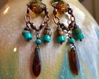 Gypsy Czech Glass Chandelier Earrings