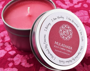 Root Chakra Candle Muladhara - Feel More Grounded, Safe & Supported By Mother Earth - Manifest Your Desires - Heal Your 1st Red Base Chakra