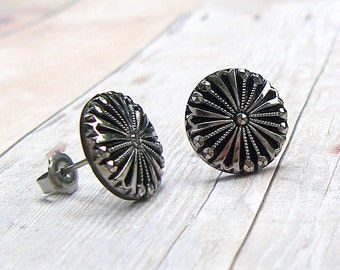 Silver Bloom - vintage glass button stud earrings,repurposed, up cycled earrings