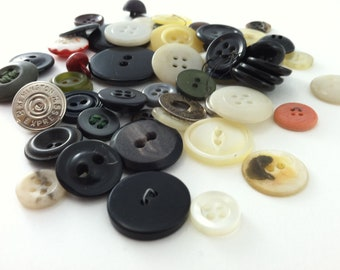 Vintage Mixed Buttons - 50 pieces