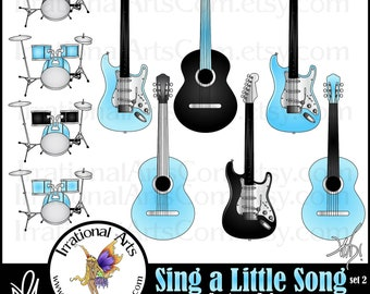 Sing a Little Song Set 2 - 10 musical instrument clipart graphics - guitars, drum kit {Instant Download}