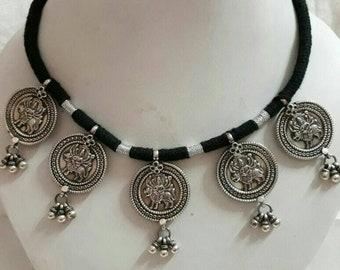 Handmade Hindu Goddess Necklace. Hammered 92.5 Sterling Silver Hindu Warrior Lion Riding Aadishakti Mahamaya Goddess maa Durga Necklace.