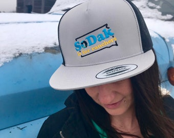 SoDak is for Ranchers Gray and Black Flat Bill Trucker Cap - Unisex South Dakota is for Ranchers Flatbill Baseball Cap by Oh Geez Design