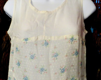 Gorgeous 20s Cotton and Dotted Swiss Floral Dress