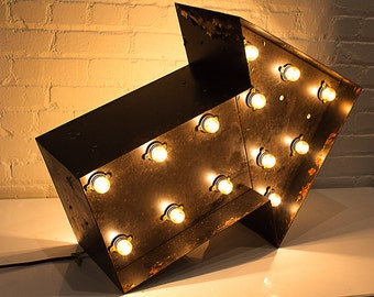 Awesome Antique Double-Sided Marquee Arrow, 1940s Hollywood Regency