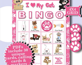 I LOVE CATS 4x4 Bingo printable PDFs contain everything you need to play Bingo.