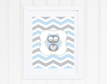 Baby Owl Nursery Print - Blue and Gray Chevron - Instant Download - Grey and Light Blue Animal Decor - High Resolution JPEG & PDF