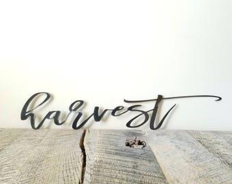 FREE SHIPPING!!!  Harvest, Metal Sign, Metal wall art, Custom Metal Work, Cursive Writing