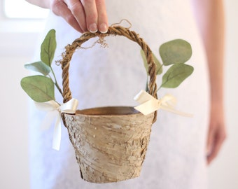 Flower Girl Basket Rustic Flower Girl Basket Rustic Wedding Decor Rustic Wedding Eucalyptus Wedding Birch Flower Girl Basket SMALL