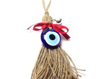 Evil eye Wall Hanging - Broom and Bell -Jute  Protection & Good Luck - Home decoration - Greek souvenir - Greece - gift