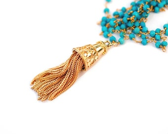 Long Turquoise Tassel Necklace, Rosary Chain Necklace, Long Gold Tassel, Turquoise Pendant