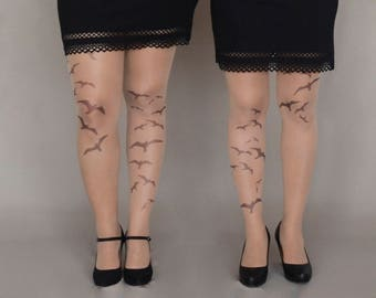 Tattoo Tights with  Birds, Semi-Sheer Tights, S-XXL Sizes Available, Printed Tights, Pantyhose