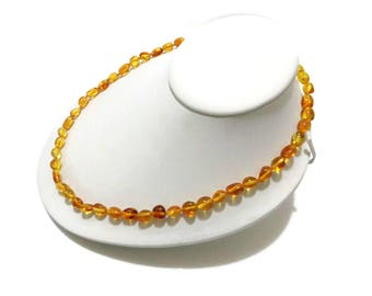 BALTIC AMBER Necklace For Adults, Real Amber Necklace, Polished Amber, Lemon Amber Beads, Handmade, 100% NATURAL Amber, Amber Jewelry, 12.4g