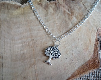 """Beautiful silver plated tree of life charm anklet 9-11"""" - ankle bracelet / body jewellery"""