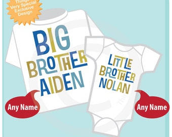 Big Brother Little Brother Shirt set of 2, Sibling Shirt, Personalized Tshirt with Blue and Green Letters (01162012b)