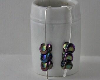 Handmade Sterling Silver Beaded Dangle Earrings