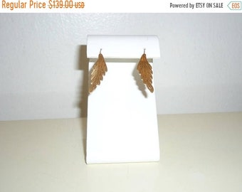 50% OFF Vintage 14k Yellow Gold Estate Etched Leaf Earrings