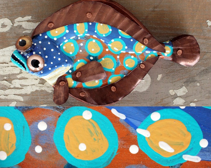 "Bill, 9"" Flounder Minnow, Fun Hand-Painted Wood Fish Wall Art, Copper Fins, Colorful Folk Art, Made in Vermont, Fish Sculpture, Unique Gift"