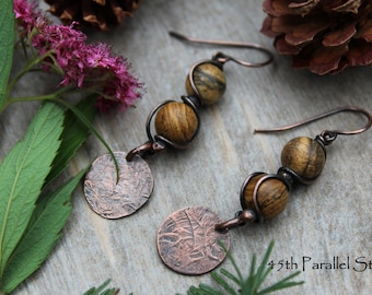 Picture Jasper Copper Earrings, Jasper Earrings, Gemstone Earrings, Rustic Earrings, Copper Earrings, Beaded Earrings, Copper Jewelry, Boho