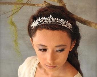 Wedding headband - Silver bridal crown, Bridal Tiara silver, Rhinestone tiara