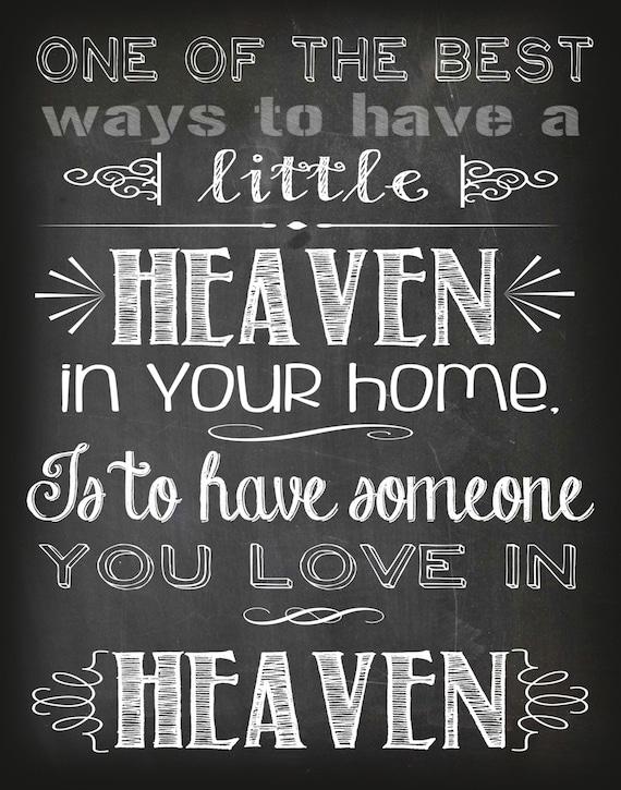 Sypmathy Gift Heaven Quote Printable Chalkboard Print: Loss