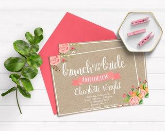 Bridal Brunch Invitations - Brunch Bridal Shower Invitation - Pink Bridal Brunch Invitations - Bridal Shower Invites -