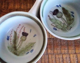 Pair of Vintage Buchan Scotland Stoneware Thistle Handled Ovenproof Bowls