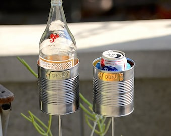 Pair of Large Hobo Tin Can Beer Holders/ Bottle Holders/ Booze Holders/ Stake Drink Holders