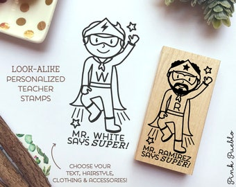 Superhero Teacher Rubber Stamp, Personalized Teacher Gift, Teacher Stamp for Grading - Choose Hairstyle and Accessories