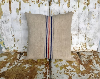 Farmhouse Original European Grain Sack Throw Pillow Dark Oatmeal with Red and Royal Blue Stripes / Rustic French Country Cottage Decor