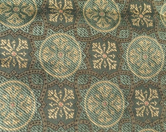 Green Renaissance damask fabric