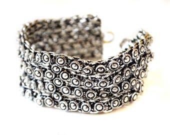 Antique Silver Cuff bracelet,TRIBAL chain Bracelet-Vintage Silver Jewelry-Chainmaille bracelt,by Taneesi Jewelry