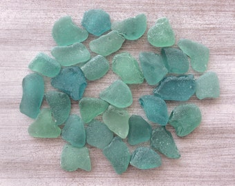 Bulk Sea Glass Genuine Beach Glass Teal Emerald Seafoam Blue Sea Glass for Wedding Decorations Sea Glass Art  Craft S002 (30)