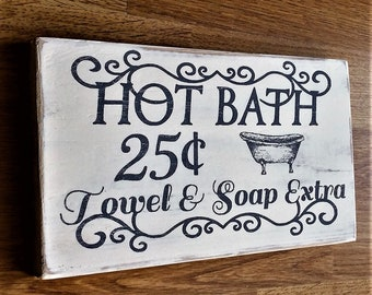 Hot bath vintage sign bathroom
