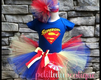 Super Girl Birthday Tutu set sizes available 12m to 10/12y Super Hero Superman