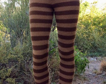Stretchy, striped, alpaca or organic merino wool, knit leggings, tights, pants