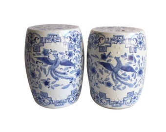 Near Pair of Chinese Blue and White Garden Stools