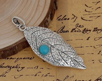 "Large pendant ""leaf / Turquoise"" silver 8.9 cm"