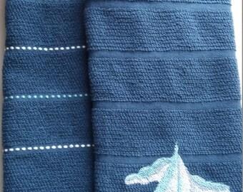 SAILBOAT KITCHEN TOWELS Set of 2