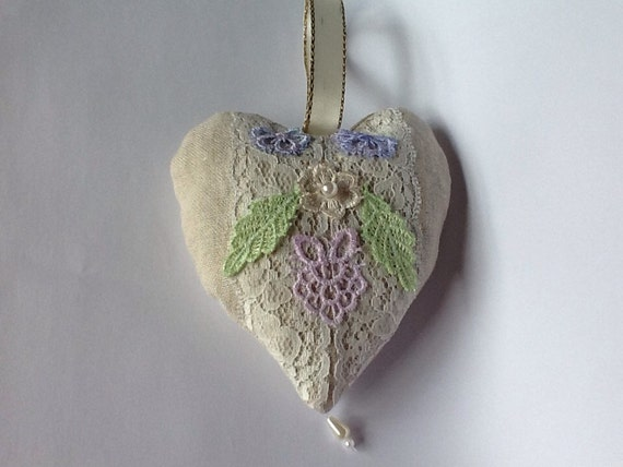 Lavender bag linen with lace and pearl beads
