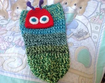 Handmade crochet newborn Baby Very Hungry Catterpillar Cacoon with hat photo shoot prop costume