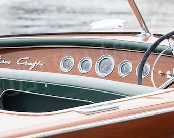 Antique Wooden Boat Dashboard - Color Photograph