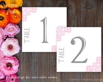 Table Number Cards • Damask Table Number Cards • Instant Download