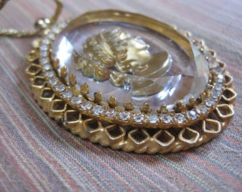 Vintage glass reverse carved cameo necklace, goldtone - perhaps Whiting and Davis
